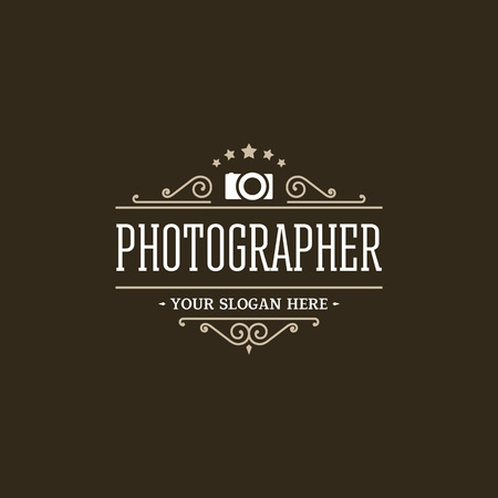 Photographer logo retro style. Vector design template.