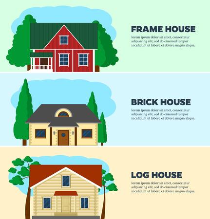 casale: Impostare piatto concetto illustrazione progettazione di abitazioni. Tre case struttura tecnologia: frme, legno e pietra. Vector template design. Vettoriali