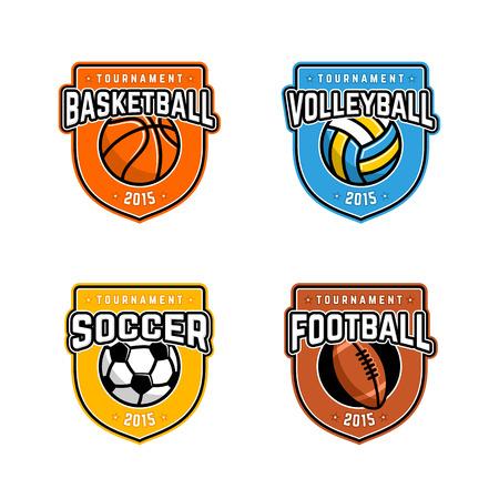 Sport logo instellen voor vier sportdisciplines Stock Illustratie