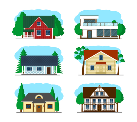 small town life: Set of houses. Vector illustration of cool detailed house icon isolated on white background.