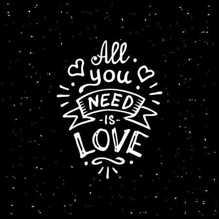 Vintage 'All you need is love' met de hand geschreven letters T-shirt design Stockfoto - 46783421