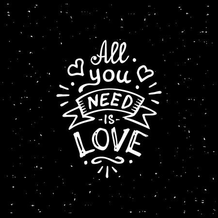 Vintage 'Todo lo que necesitas es amor' ropa letras escritas a mano diseño de la camiseta