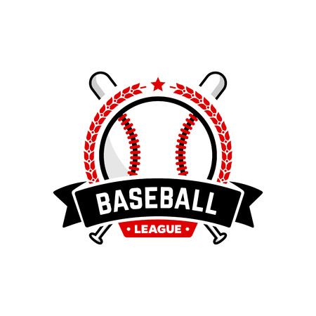 Baseball league logo with ball. Vector Design Template.