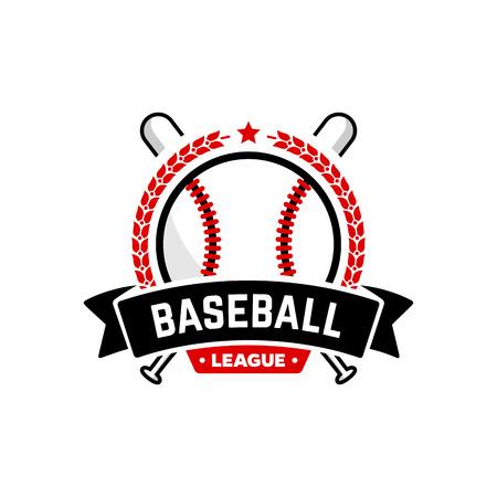 Baseball league logo with ball. Vector Design Template.