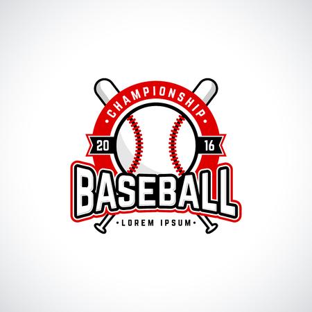 red diamond: Baseball championship logo with ball. Vector design template.