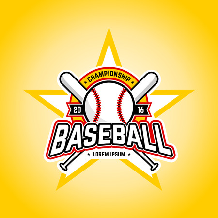 Baseball tournament professional logo. Vector design template. Çizim