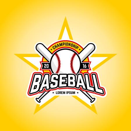 at bat: Logotipo profesional del torneo de béisbol. Plantilla de diseño vectorial