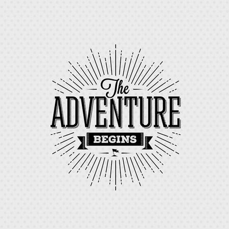 Carte vectorielle avec élément de conception de typographie pour les cartes de souhaits et les affiches. L'aventure commence dans le style vintage Banque d'images - 47893792
