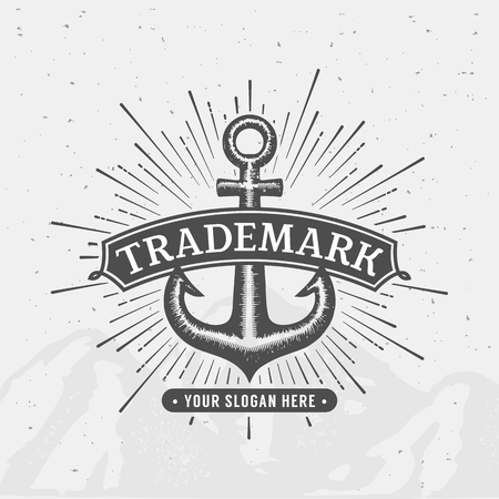 business products: Anchor emblem. Element for company logo, business identity, print products or other design. Vector illustration.
