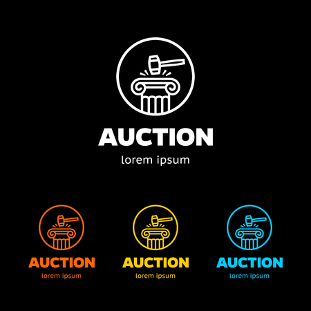 Auction hammer icon. Law judge gavel symbol. Business abstract circle logo. Logotype with Thank you ribbon. Vector