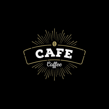 black backgrounds: Cafe logo with coffee bean. Illustration