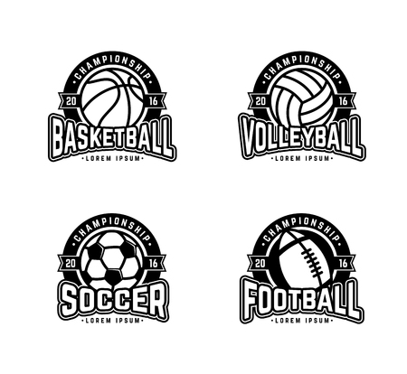 bannière football: Jeu de logos sportifs de football, football américain, volley-ball, basket-ball. Illustration