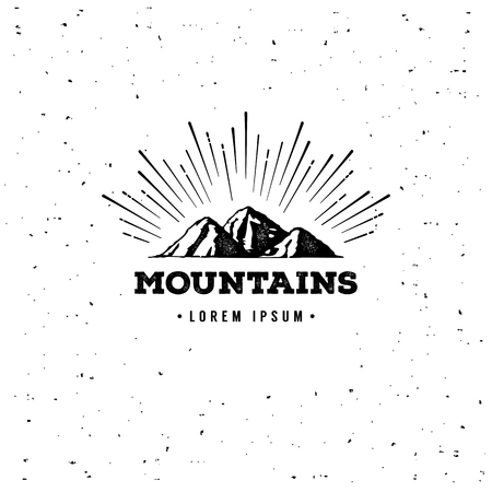 summit: mountains emblem. Outdoor activity symbol with grunge texture. Illustration
