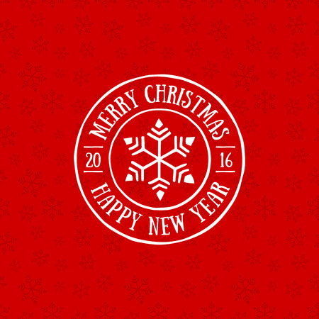 happy new year stamp: Merry Christmas and Happy New Year stamp on seamless background.