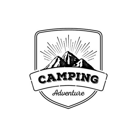 wilderness: Camping wilderness adventure badge. Outdoor activity symbol with grunge texture on mountain landscape background Illustration