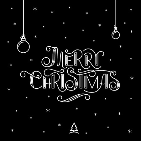 greeting christmas: Merry Christmas lettering. Christmas Greeting Card.