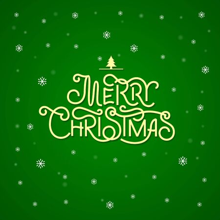 background green: Merry Christmas lettering. Christmas Greeting Card.