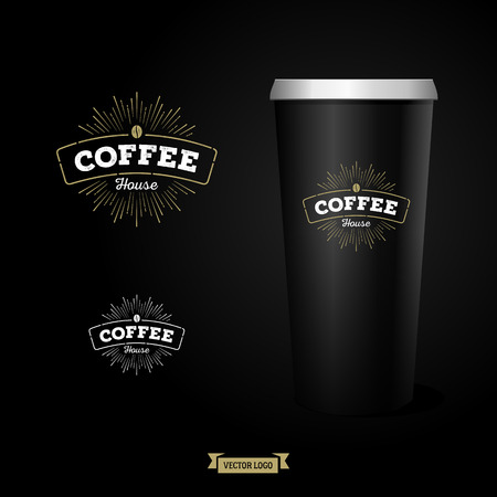 background coffee: Stylish coffee with photo realistic paper cup. Illustration