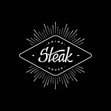 手文字でラベルのステーキ。レトロなデザイン。スター バースト。