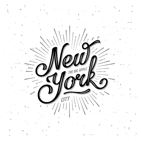 naming: New York City Typography with starburst. Print for t-shirt or poster. Vector illustration.