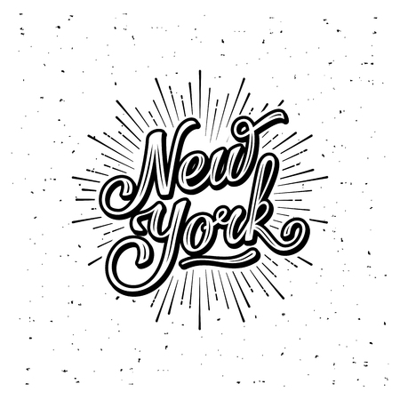 New York Typography with starburst. Print for t-shirt or poster. Vector illustration. Çizim