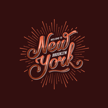 western script: Vintage Hand lettered welcome to new york t shirt apparel  print. Hand drawn typographic. Vector illustration. Illustration