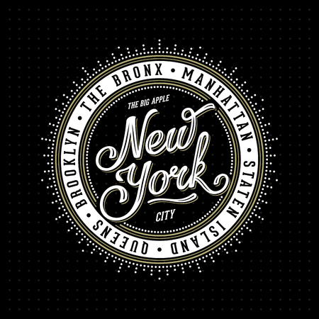 Vintage hipster frame with lettering 'New York City Brooklyn, Manhattan, Queens, Bronx, Staten Island' for your poster, badge, t-shirt apparel print. Vector Illustration.