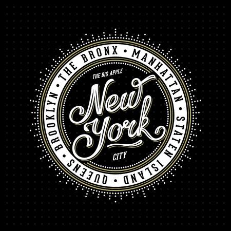 Vintage hipster frame met opschrift 'New York City Brooklyn, Manhattan, Queens, Bronx, Staten Island' voor uw poster, kenteken, t-shirt kleding af te drukken. Vector Illustratie. Stockfoto - 51375301