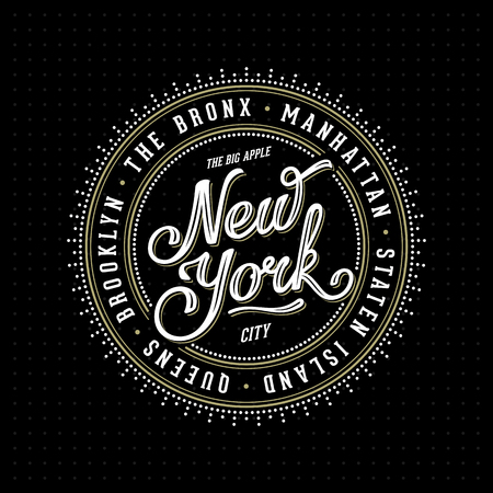 bronx: Vintage hipster frame with lettering New York City, Brooklyn, Manhattan, Queens, Bronx, Staten Island for your poster, badge, t-shirt apparel print. Vector Illustration. Illustration