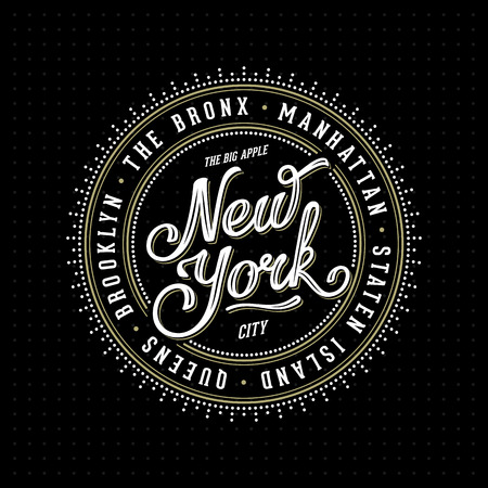 new york city: Vintage hipster frame with lettering New York City, Brooklyn, Manhattan, Queens, Bronx, Staten Island for your poster, badge, t-shirt apparel print. Vector Illustration. Stock Photo
