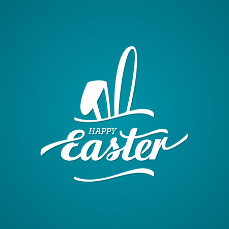 Happy Easter Typographical Background With Bunny. Vector illustration