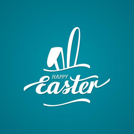 osterhase: Happy Easter typographische Hintergrund mit den Häschen. Vektor-Illustration