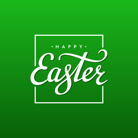 easter background: Happy Easter Typographical Background. Handwritten lettering for Poster or Greeting Card. Vector illustration. Illustration