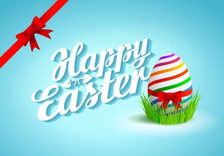 Happy Easter Typographical Background with egg in grass Çizim