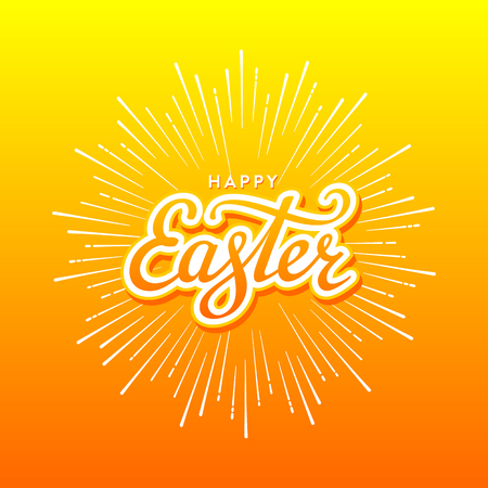 beam with joy: Happy Easter Typographical Background with firework. Handwritten lettering for Poster or Greeting Card.