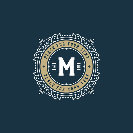 m hotel: Stylish monogram with letter M.  Sign for cafe, shop, store, restaurant, boutique, hotel, heraldic, fashion.