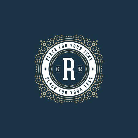 boutique hotel: elegante del monograma con la letra R. sesi�n de cafeter�a, tienda, tienda, restaurante, boutique, hotel, her�ldica, moda. Vectores