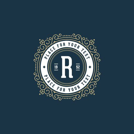 r fine: Stylish monogram with letter R.  Sign for cafe, shop, store, restaurant, boutique, hotel, heraldic, fashion.