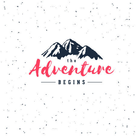 The Adventure Begins vintage illustration with mountains. Design for t-shirt print or poster.