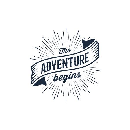 The Adventure Begins vintage travel illustration for t-shirt print or poster