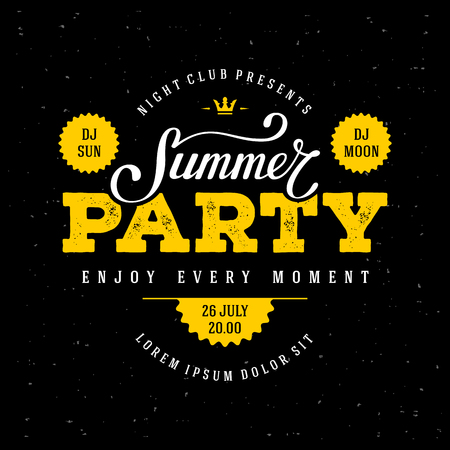 party night: Summer Party lettering. Flyer, Banner or Poster for Summer Party. Vector illustration.