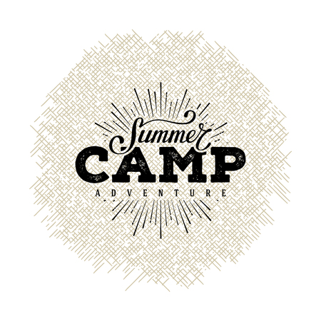 Summer camp label. Hand lettering typography design for sign, badge, t-shirt print,  postcard or poster. Vector illustration. Stock Illustratie