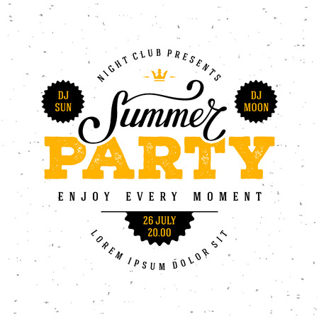 Summer Party lettering. Flyer, Banner or Poster for Summer Party. Vector illustration.