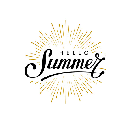 Hello summer. Hand lettering typography design. Design for t-shirt print,  postcard or poster. Vector illustration.