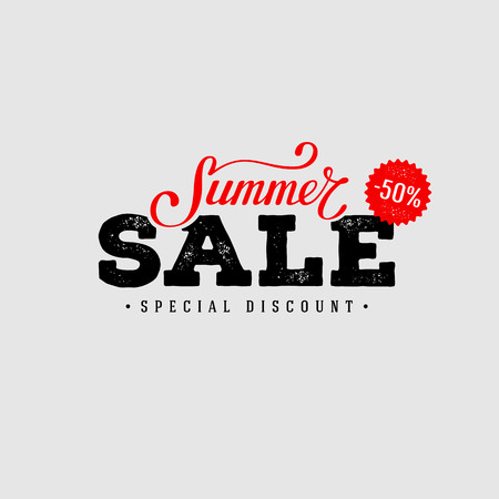Summer Sale banner. Vintage design. Vector illustration. Stock Vector - 58904874