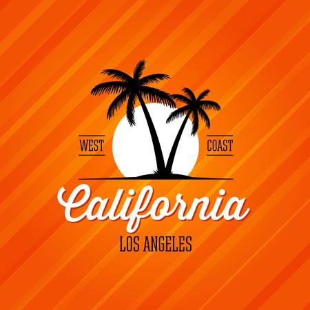 california coast: California West Coast Los Angeles. Palms and sun Design for t-shirt print, postcard or poster.