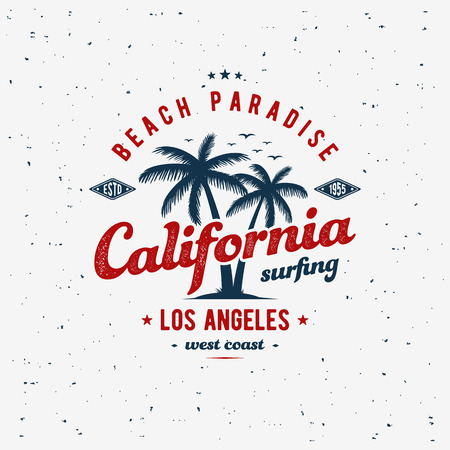 California surfing typography for t-shirt print. Apparel fashion design. Vector illustration