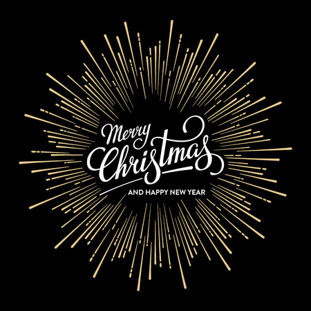 Merry Christmas and Happy New Year Card with Starburst. Vector illustration.