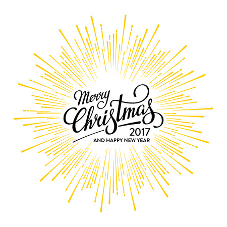 Merry Christmas and Happy New Year 2017 Card with Starburst. Hand drawn typographic composition. Vector illustration. Illustration