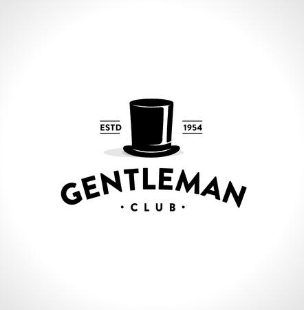 cappelli: Gentleman Club Label Design. segno d'epoca. illustrazione di vettore